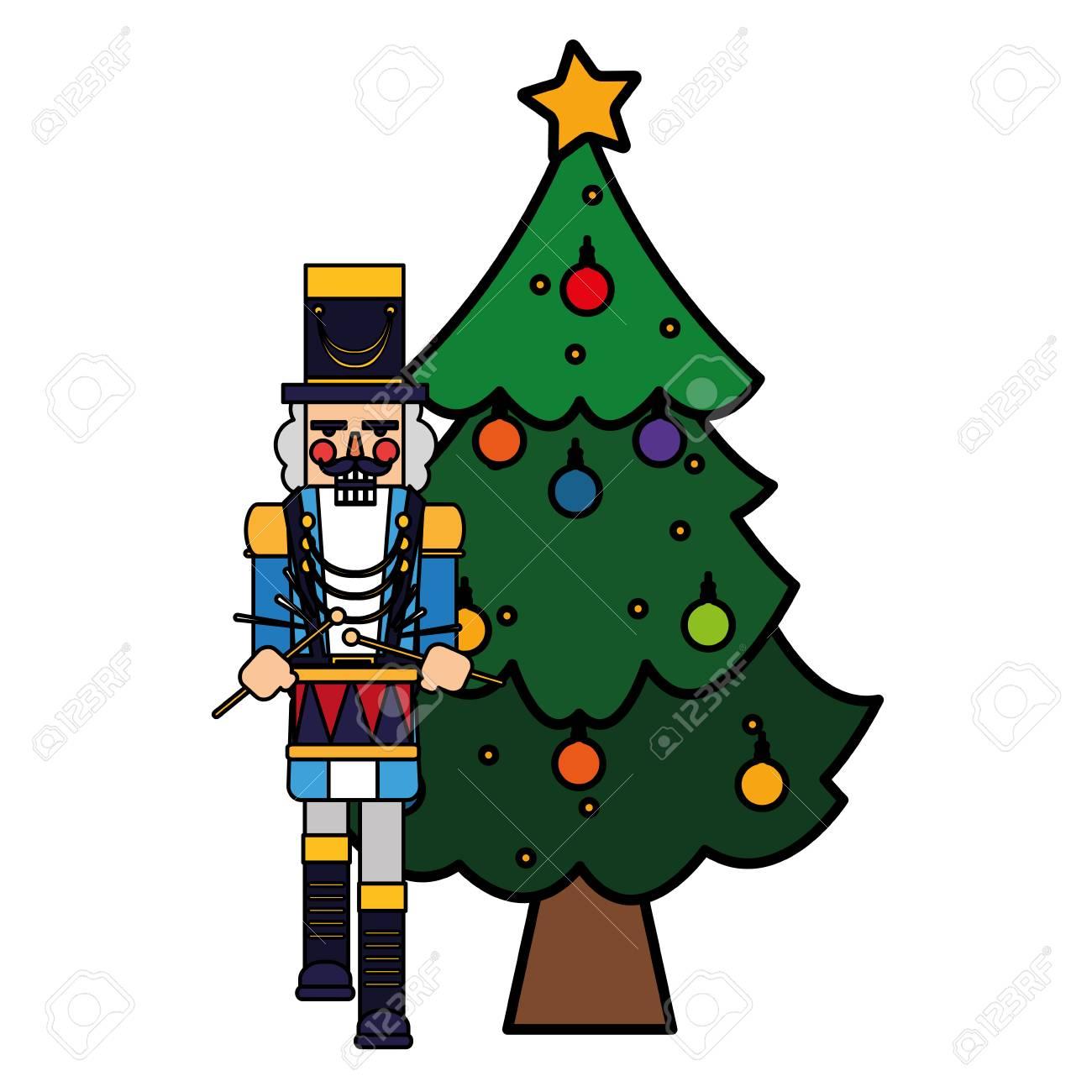 Nutcracker Christmas Tree Clipart.Christmas Tree And Nutcracker Over White Background Vector Illustration
