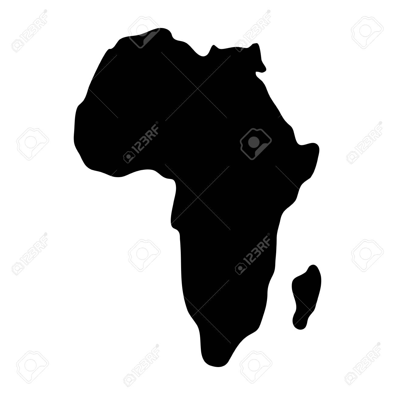 Africa Map Silhouette Vector.African Continent Map Silhouette Vector Illustration Design
