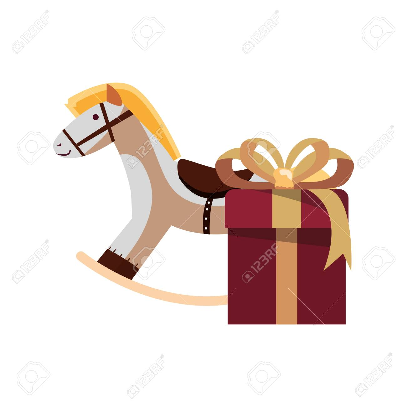 Christmas Rocking Horse Gift Box Vector Illustration Royalty Free Cliparts Vectors And Stock Illustration Image 127032252