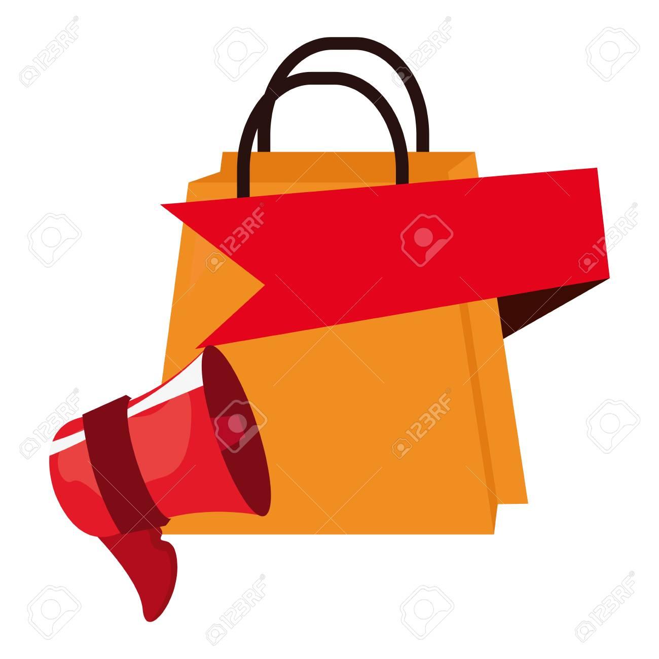 online shopping speaker bag banner vector illustration Stock Vector -  113687983 9800437510ad4