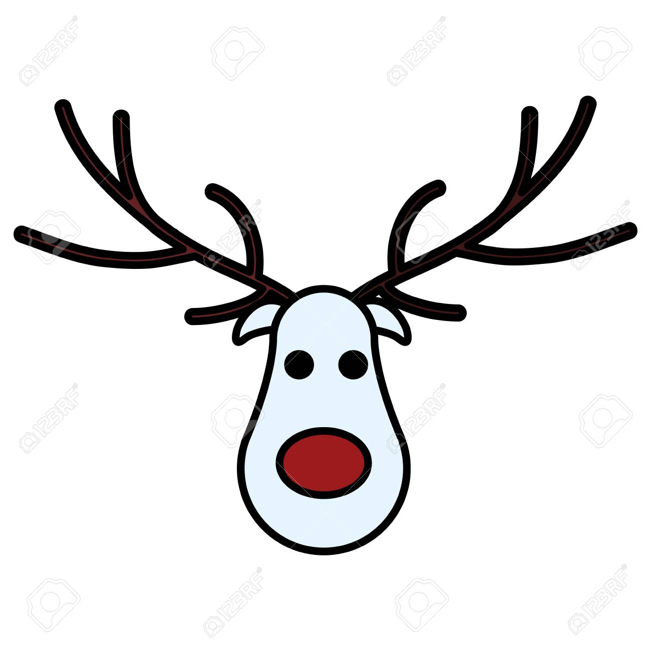 Cartoon christmas deer with red nose over white background, vector illustration - 126861793