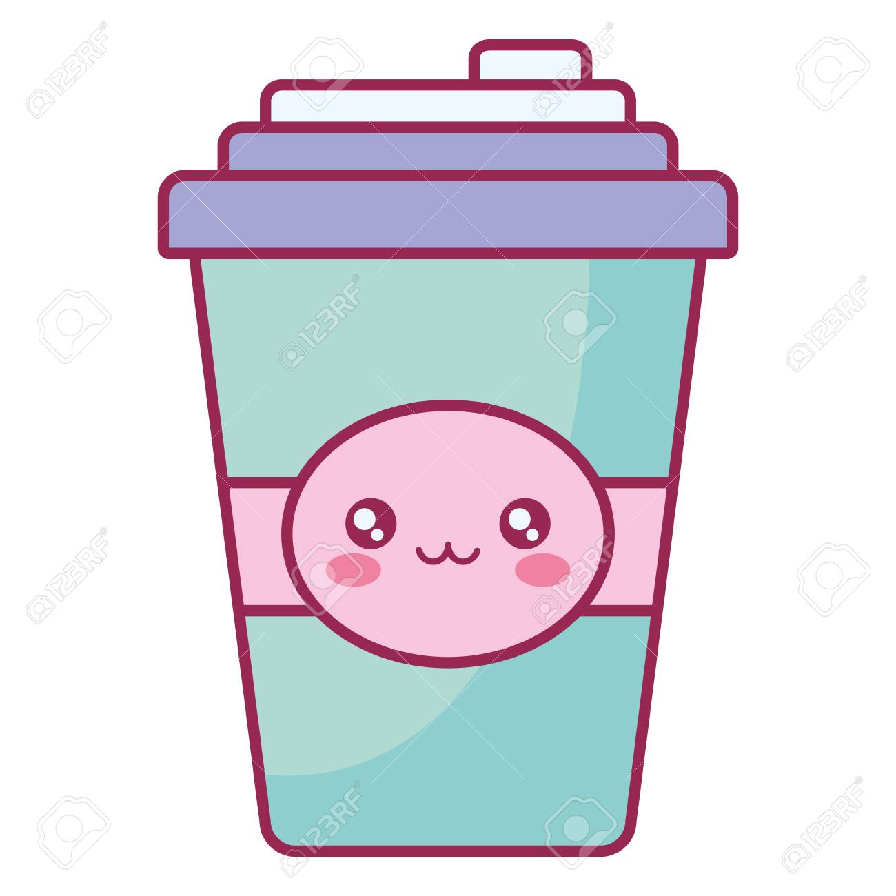 plastic cup container character vector illustration design - 114186360