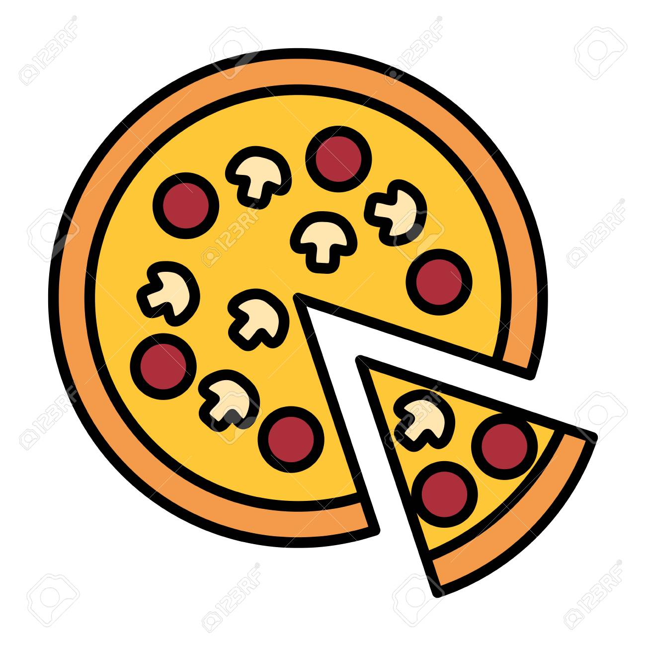 Pizza Icon Over White Background, Colorful Design. Vector Illustration  Royalty Free Cliparts, Vectors, And Stock Illustration. Image 126397758.