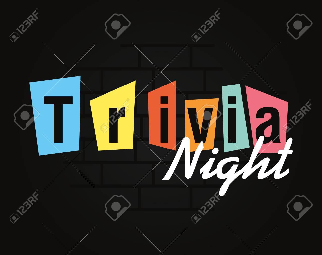 trivia night lettering on dark background vector illustration - 124675404