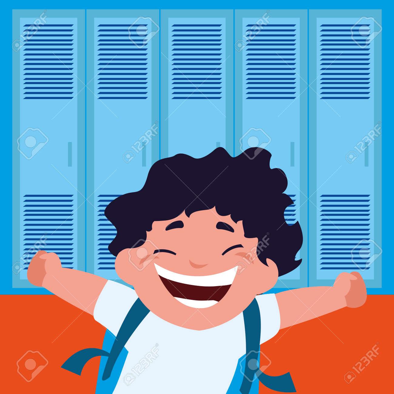 little schoolboy with schoolbag in school corridor vector illustration design - 124131767