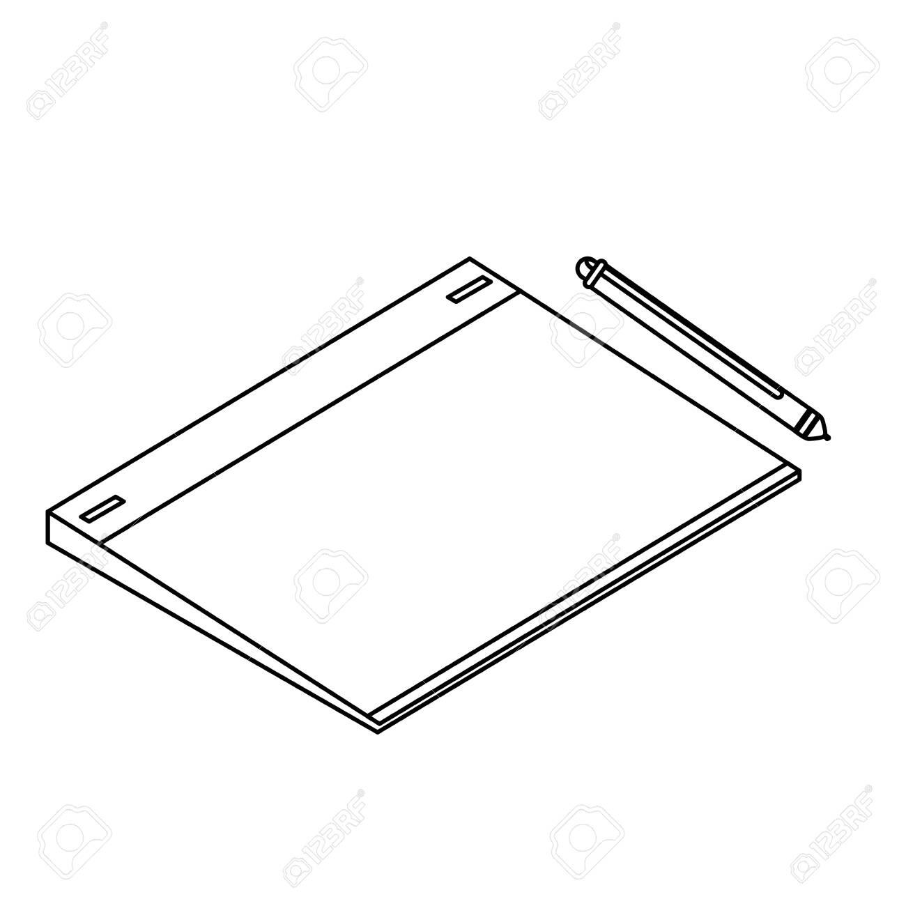 graphic design board and pencil electronics vector illustration design - 124060701