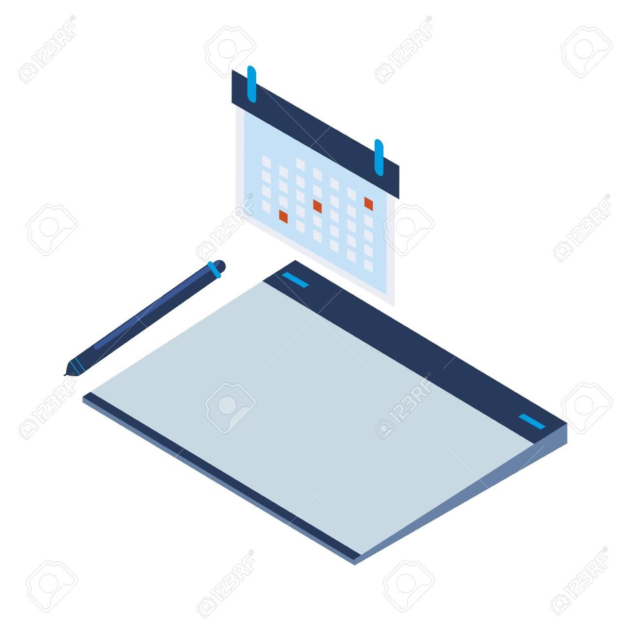 graphic design board and calendar vector illustration design - 123887866