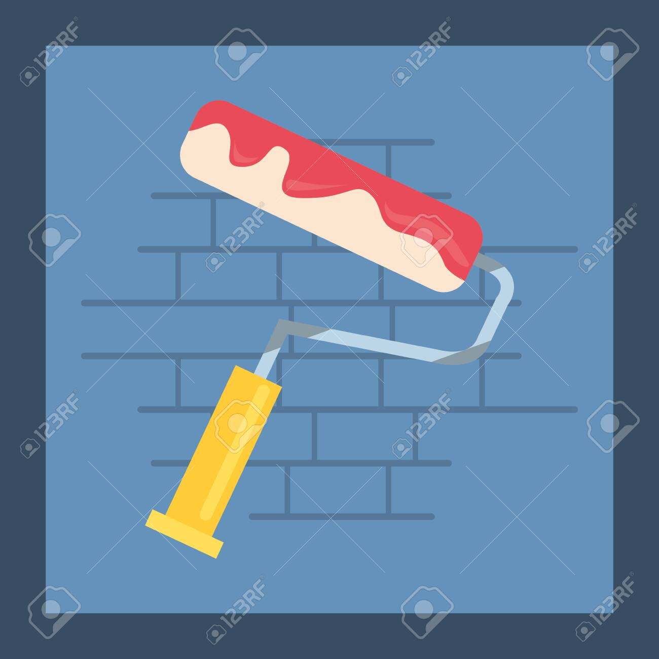 Painting Roller Tool Wall Brick Vector Illustration Design