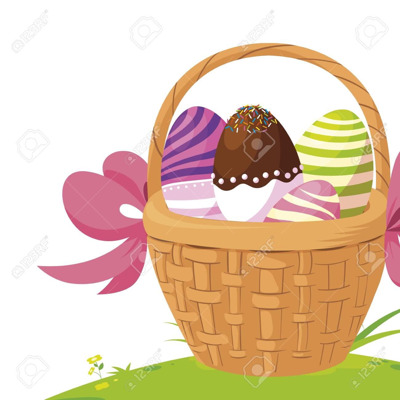 happy easter eggs painted in basket vector illustration design - 122846541