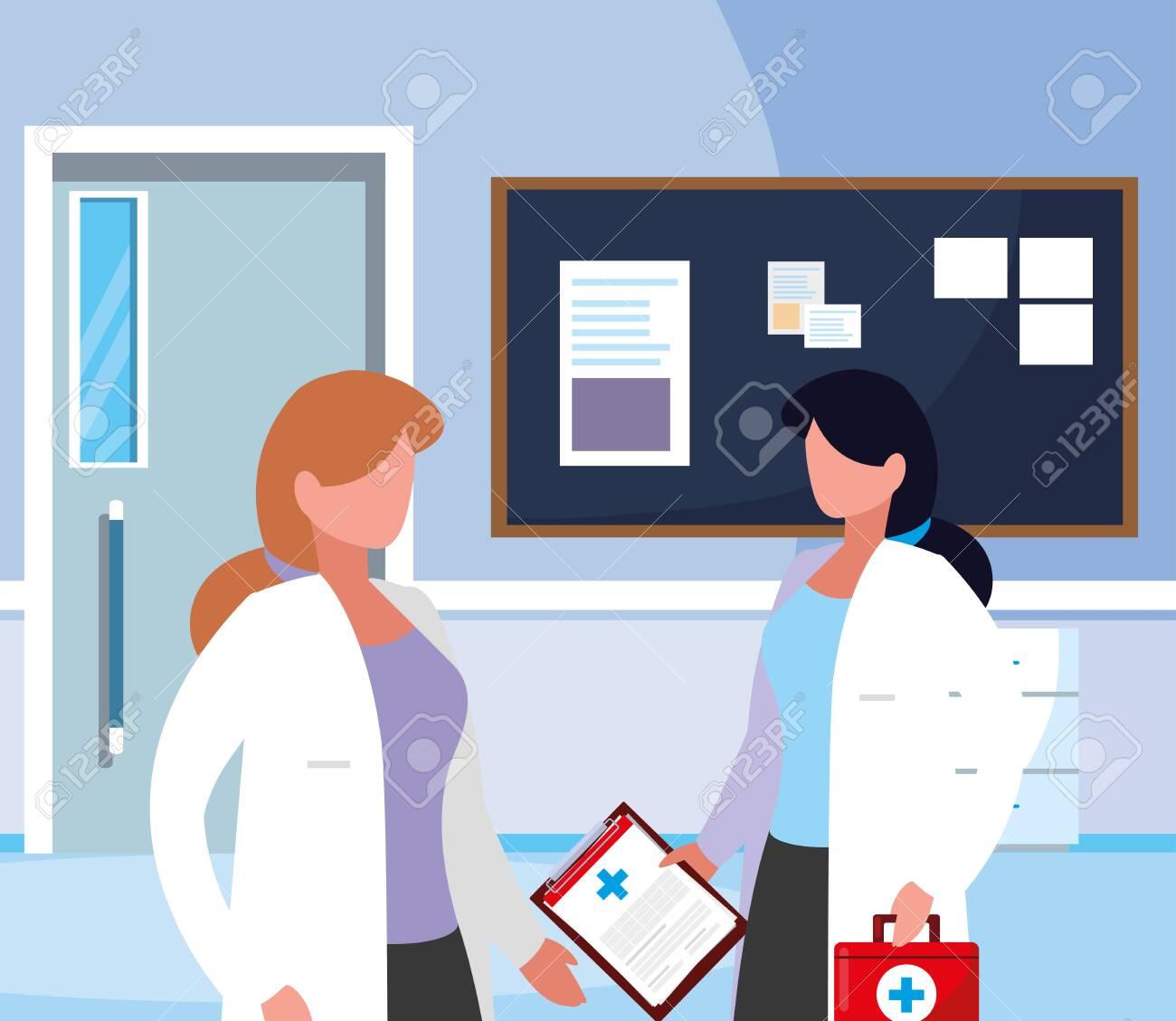 female medicine workers in hospital corridor vector illustration design - 121717882