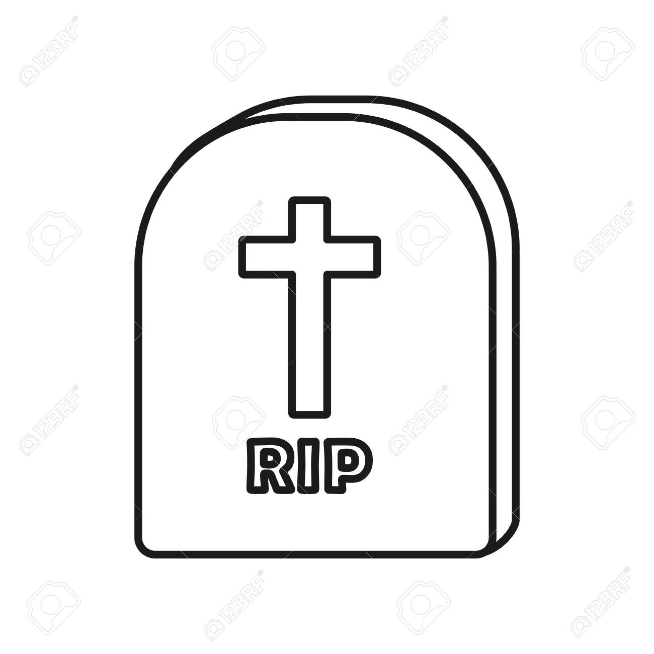 tombstone icon over white background, vector illustration - 124833806
