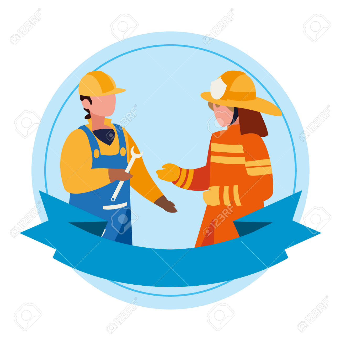 couple of professional workers with ribbon frame vector illustration design - 126197187