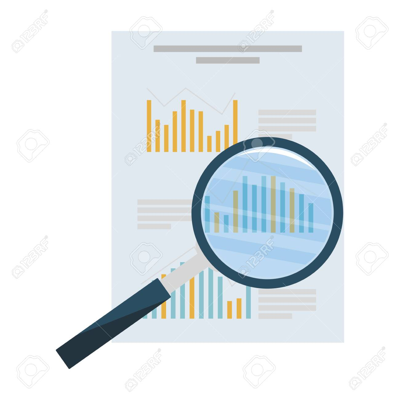 search magnifying glass with financial documents vector illustration design - 128350930