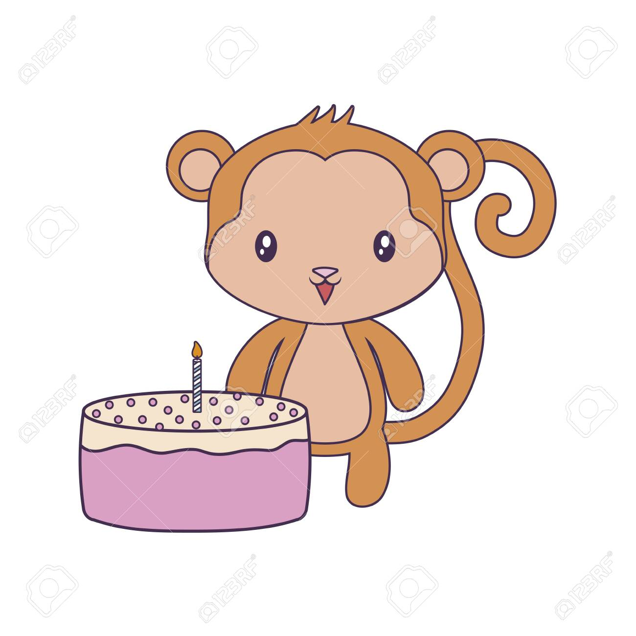 Strange Cute Monkey Animal With Cake Of Birthday Vector Illustration Personalised Birthday Cards Paralily Jamesorg