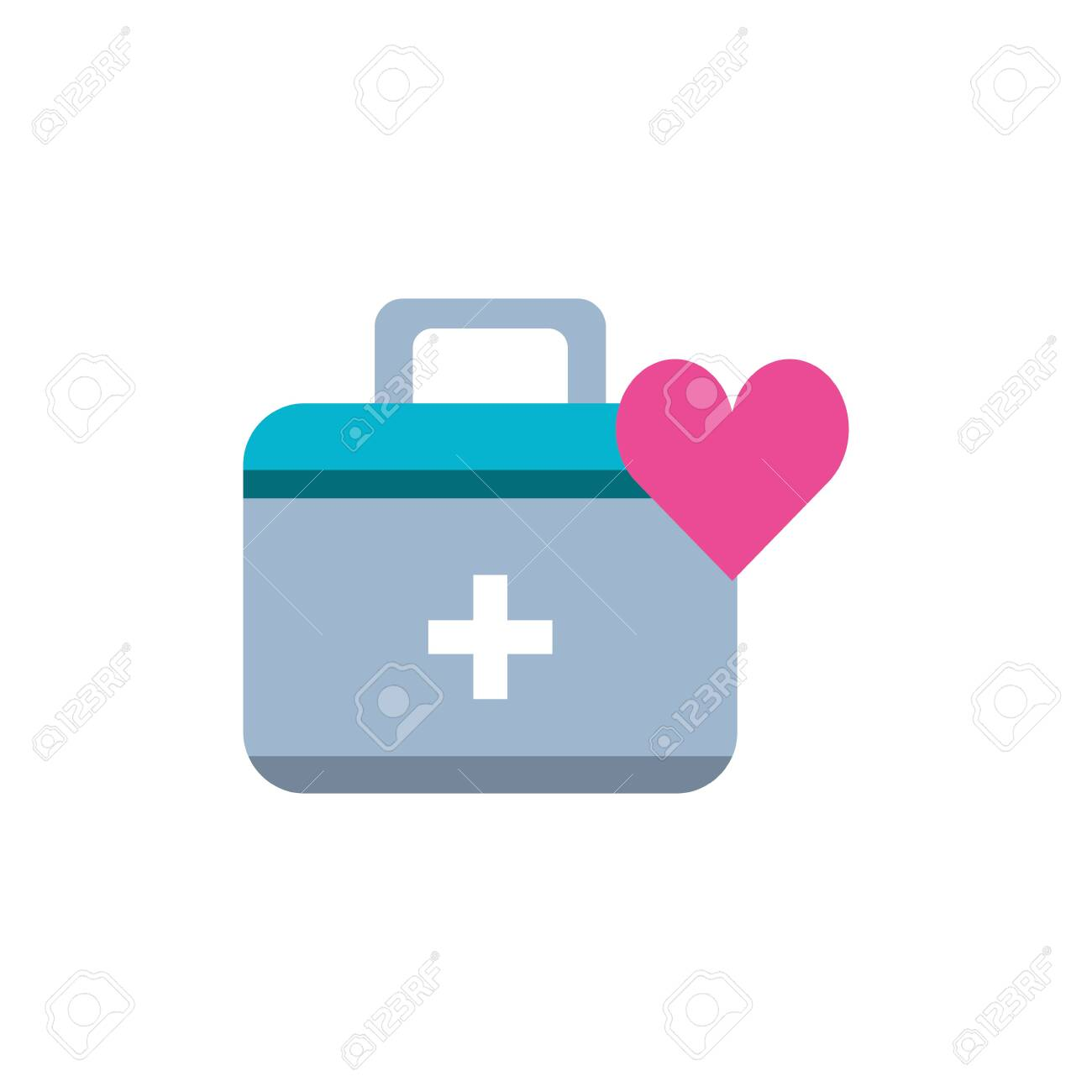 first aid kit with heart isolated icon vector illustration design - 129592475