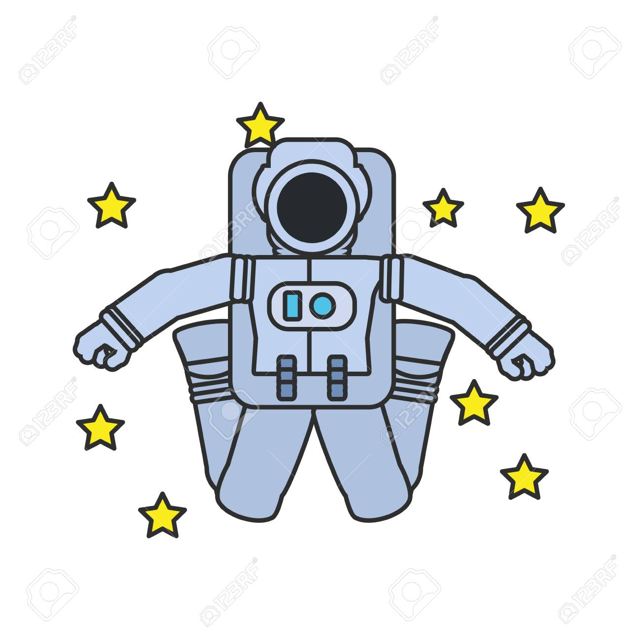 astronaut suit jumping with set of stars vector illustration..