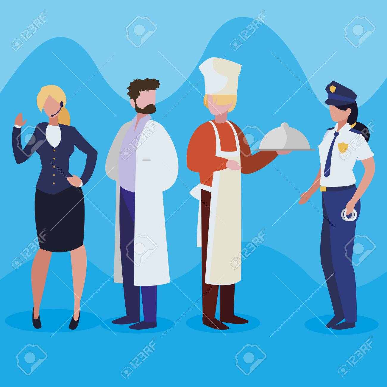 group of professional workers characters vector illustration design - 130287369