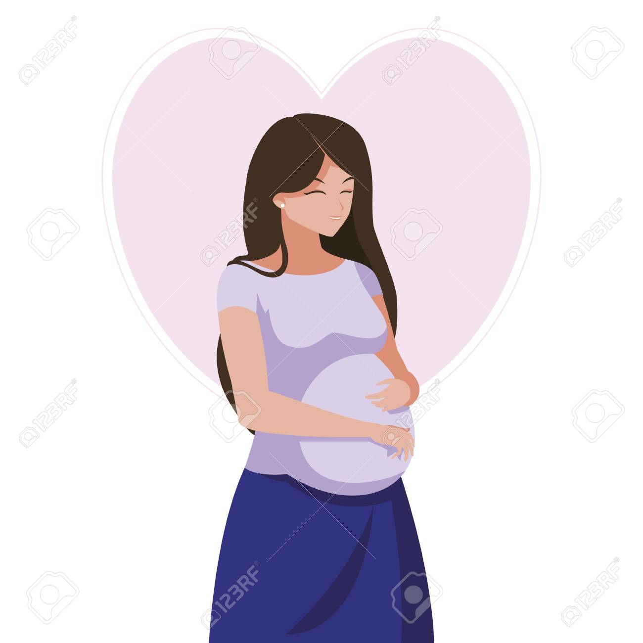 beautiful pregnancy woman in heart character vector illustration design - 132650682