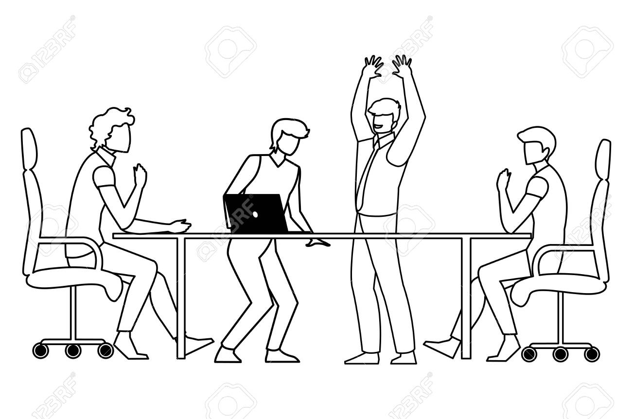 group of businessmen in the office scene vector illustration design - 133153035