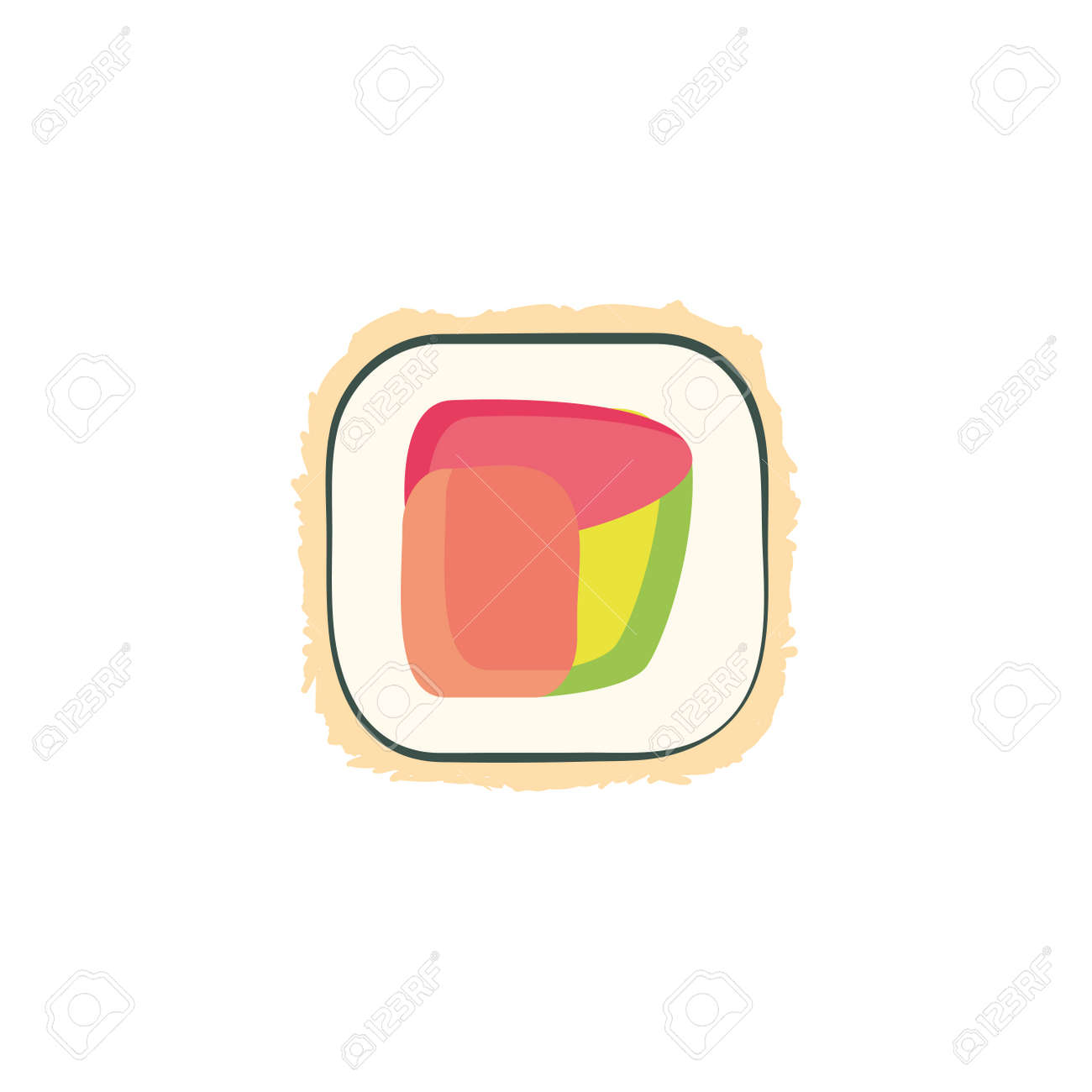 sushi icon design, Eat food restaurant menu dinner lunch cooking and meal theme Vector illustration - 134356537