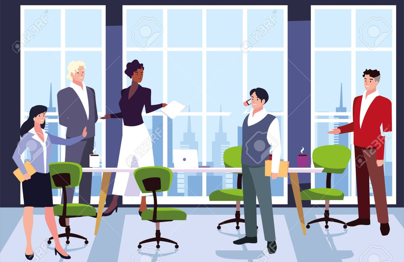 group of people business in the work office, coordinated work in friendly team in the office vector illustration design - 134571955