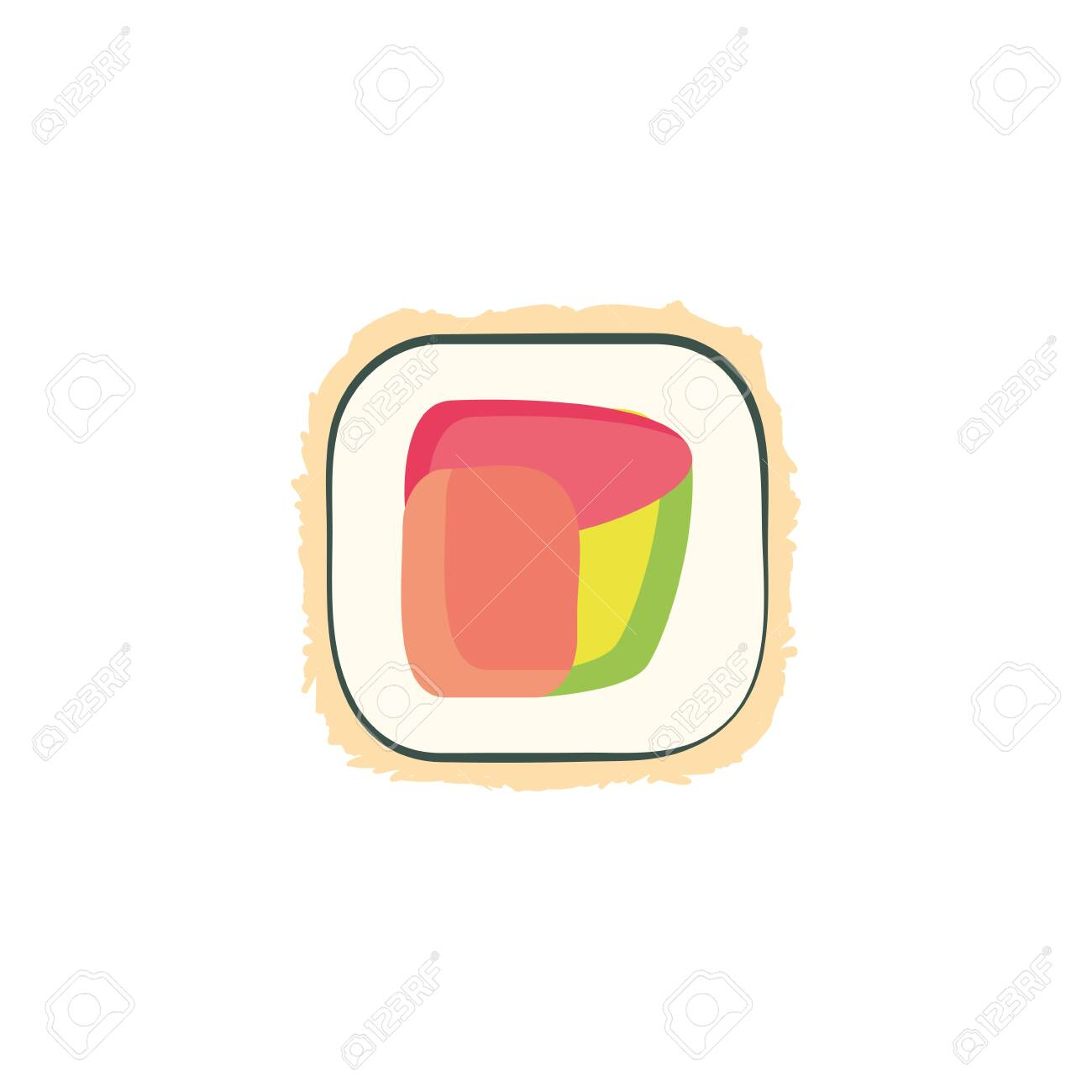 sushi icon design, Eat food restaurant menu dinner lunch cooking and meal theme Vector illustration - 135001372