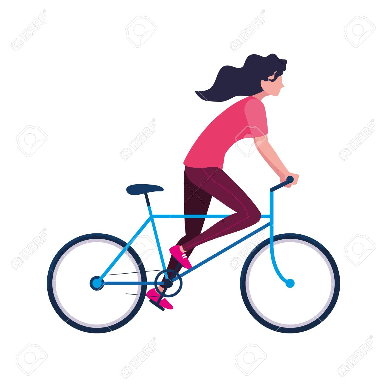 woman riding bicycle activity image on white background vector illustration - 136954760