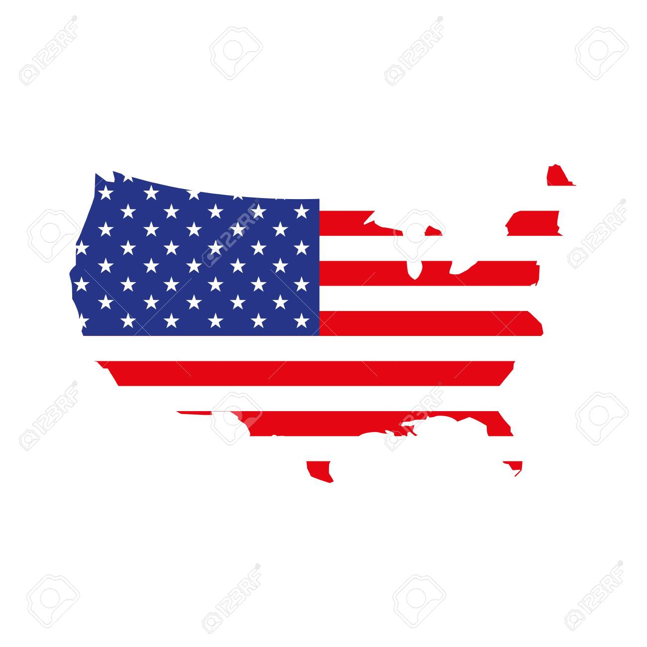 united states map with flag vector illustration design - 137645060