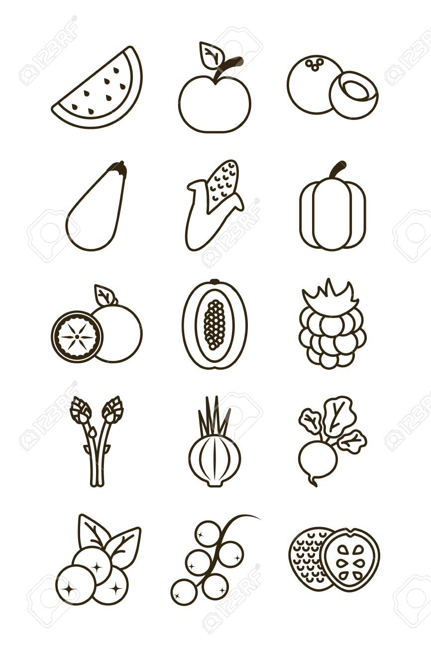 set of icons of fresh fruits and vegetables, line style icon vector illustration design - 141912995