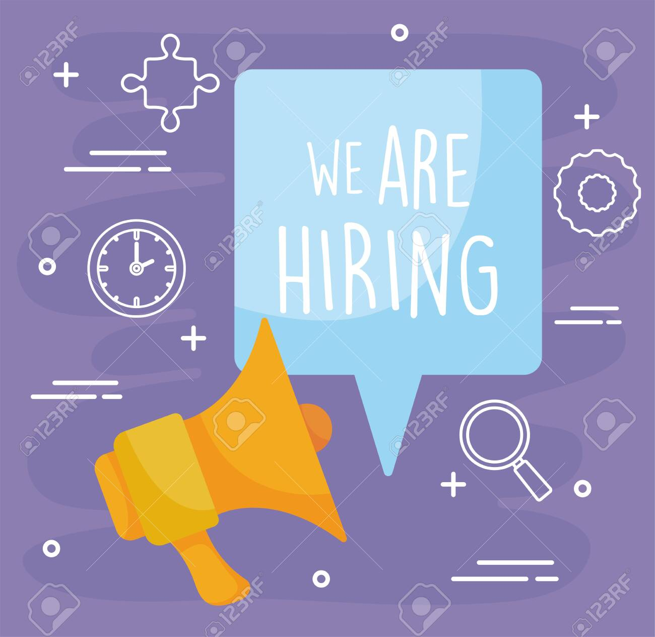 We are hiring message with megaphone design, job work employee business employment career recruitment wanted interview employer and recruit theme Vector illustration - 142084784
