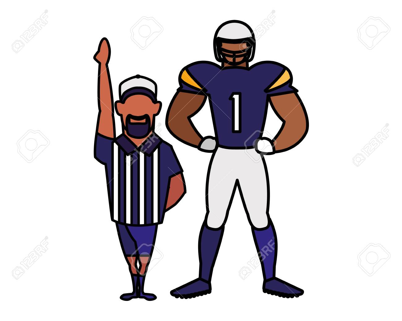 referee and player american football on white background vector illustration design - 142684034