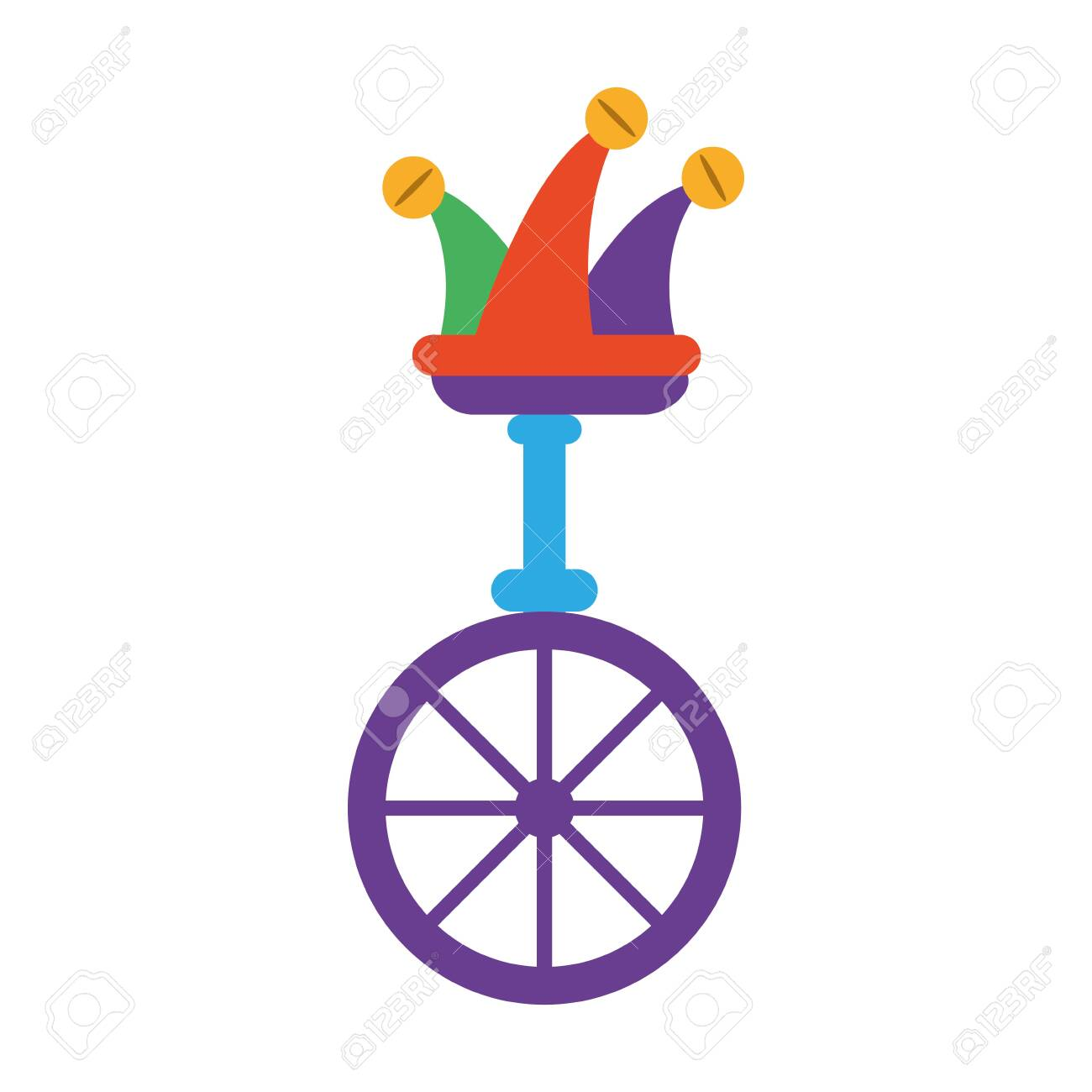 unicycle, one wheel bicycle over white background vector illustration design - 143156463