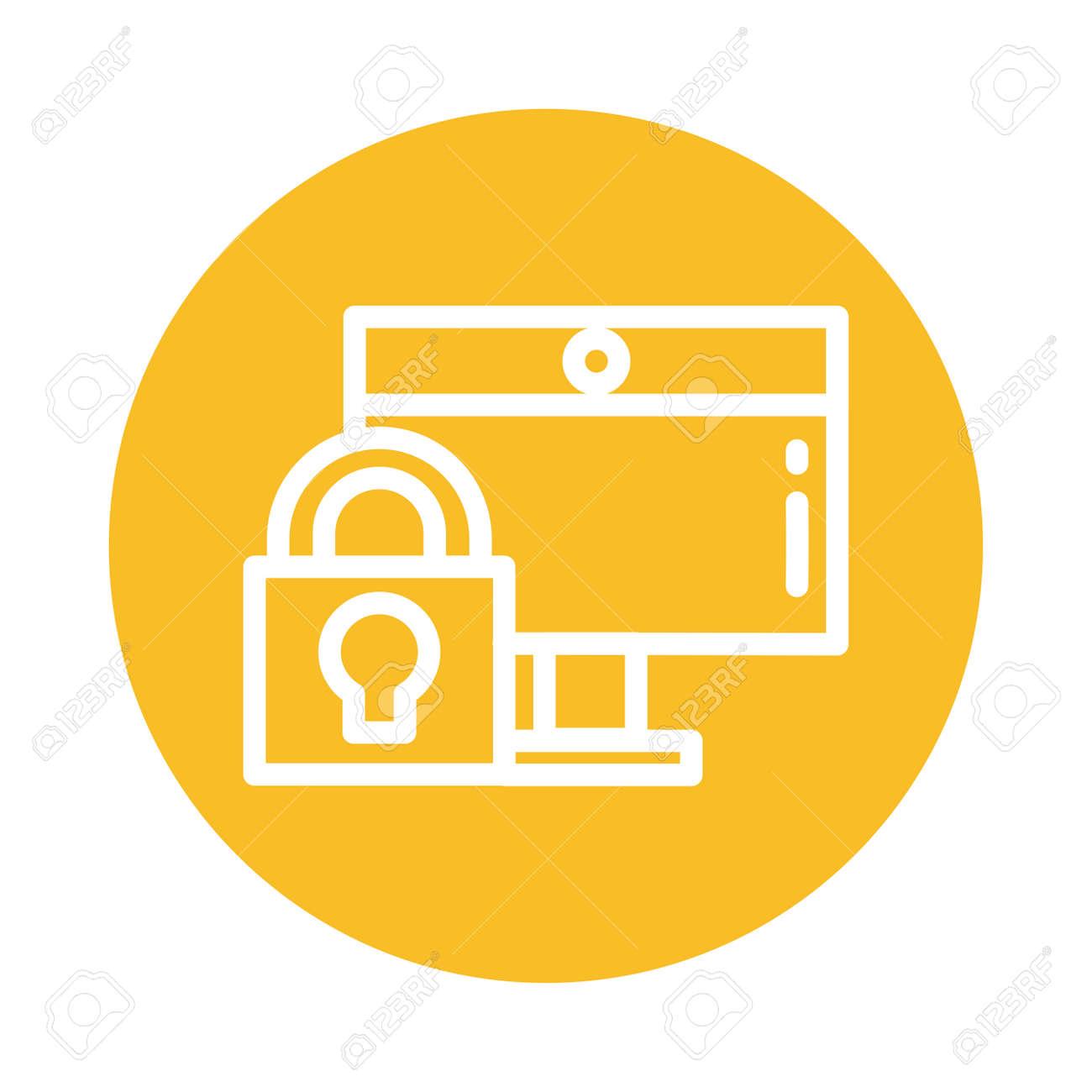 padlocked screen, block and flat style icon vector illustration design - 144411059