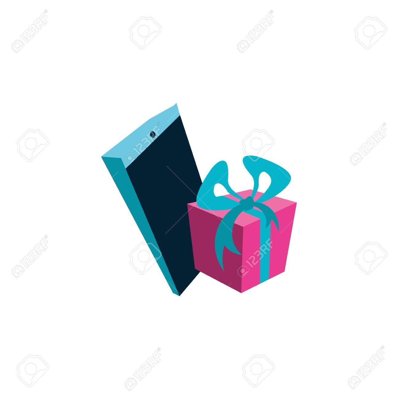 Smartphone Device With Gift Box Vector Illustration Design Royalty Free Klipartlar Vektor Cizimler Ve Stok Cizim Image 145091155