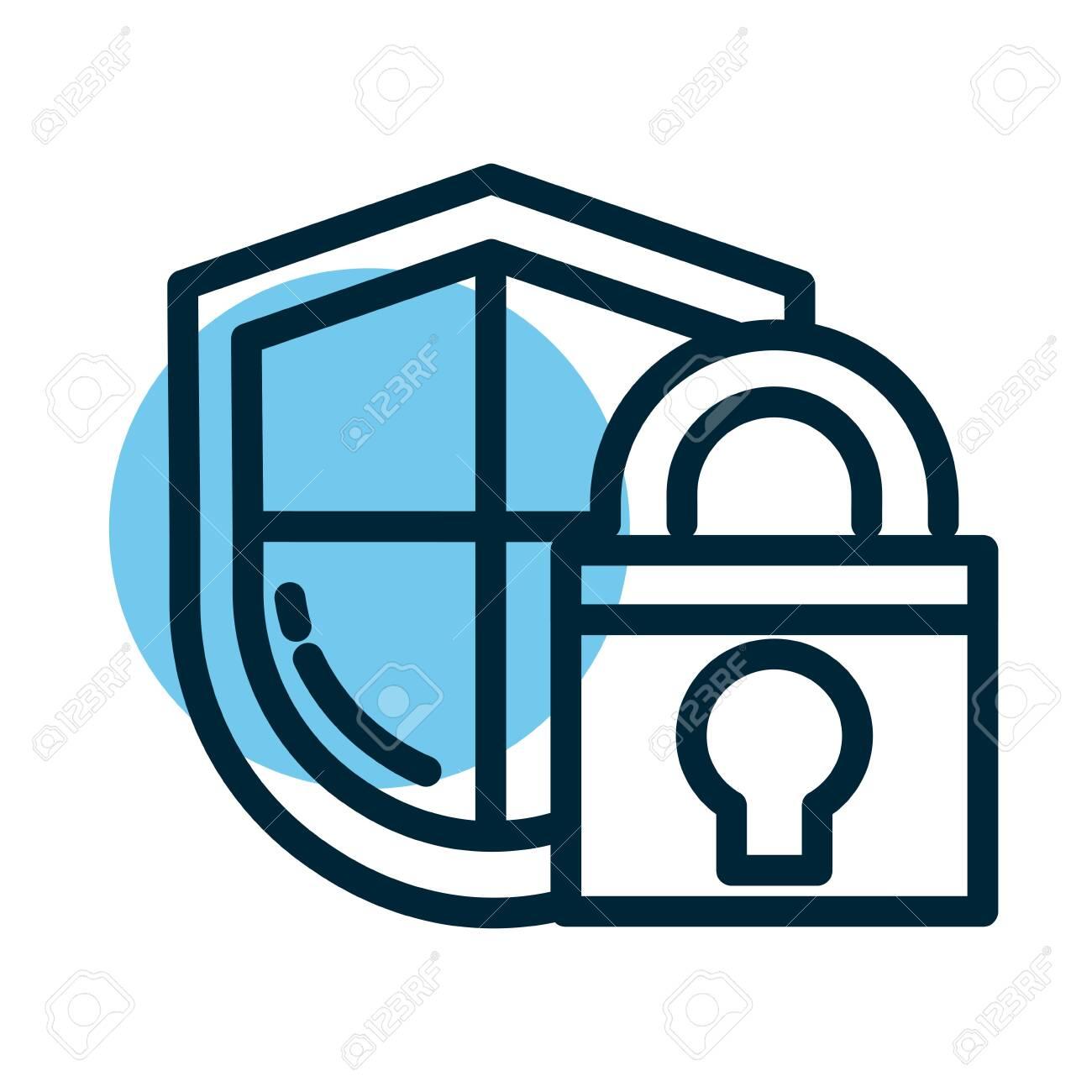 padlocked shield, line style icon vector illustration design - 147386304