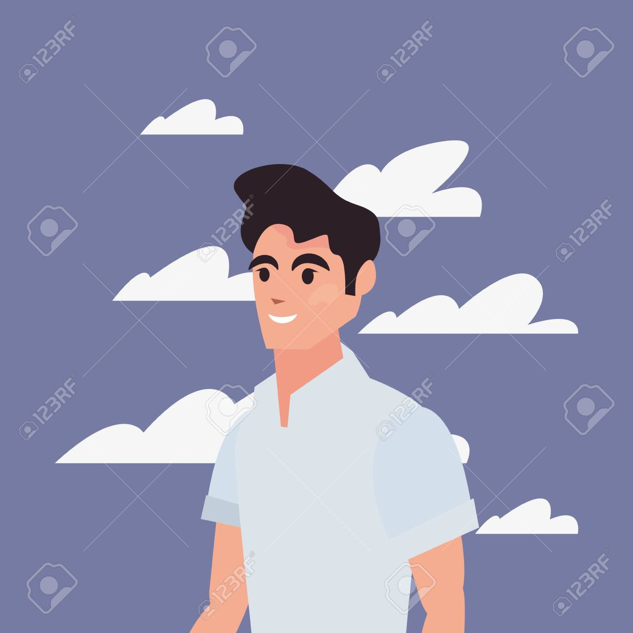 Man Character Portrait Sky Background Vector Illustration Royalty Free Cliparts Vectors And Stock Illustration Image 148981625