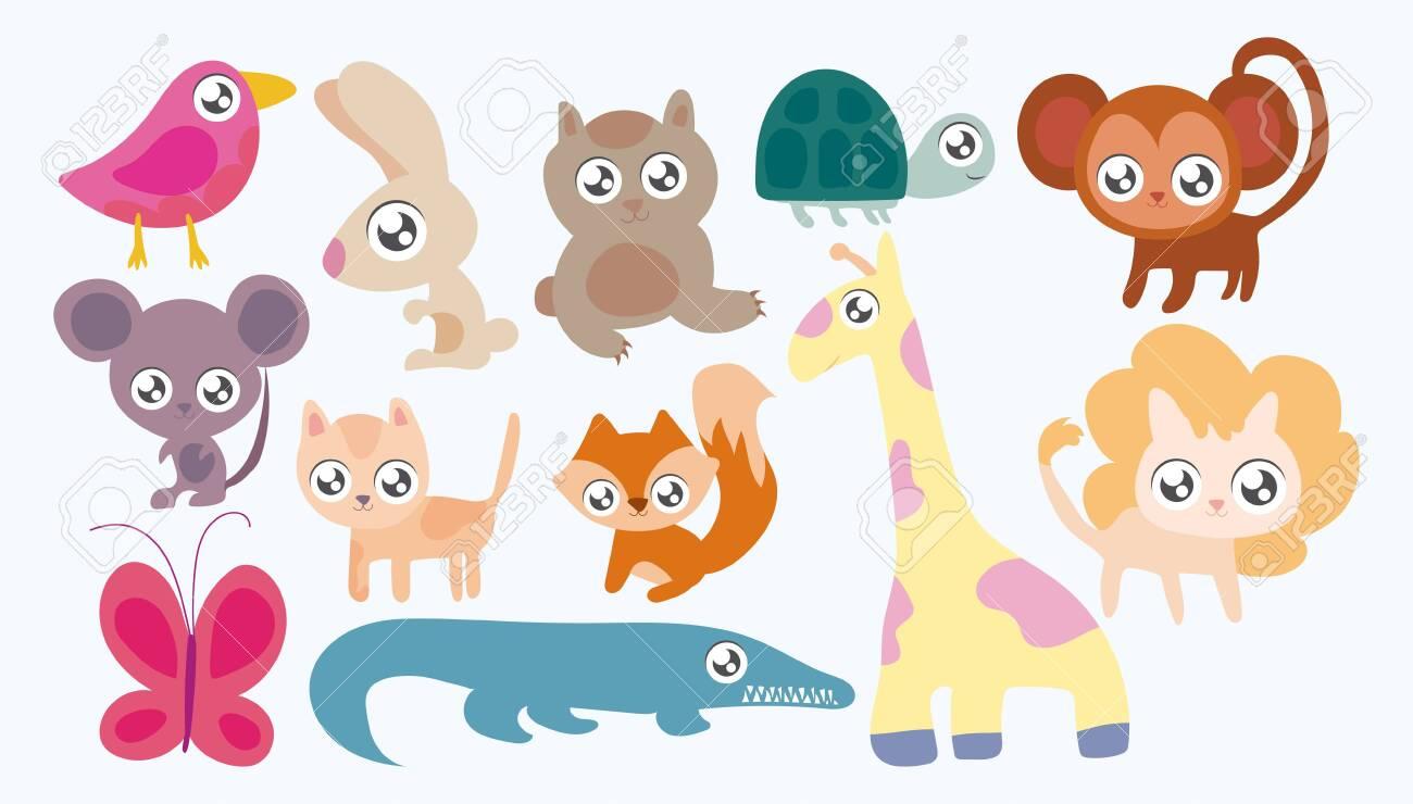set of animals in kawaii style vector illustration design - 149256849