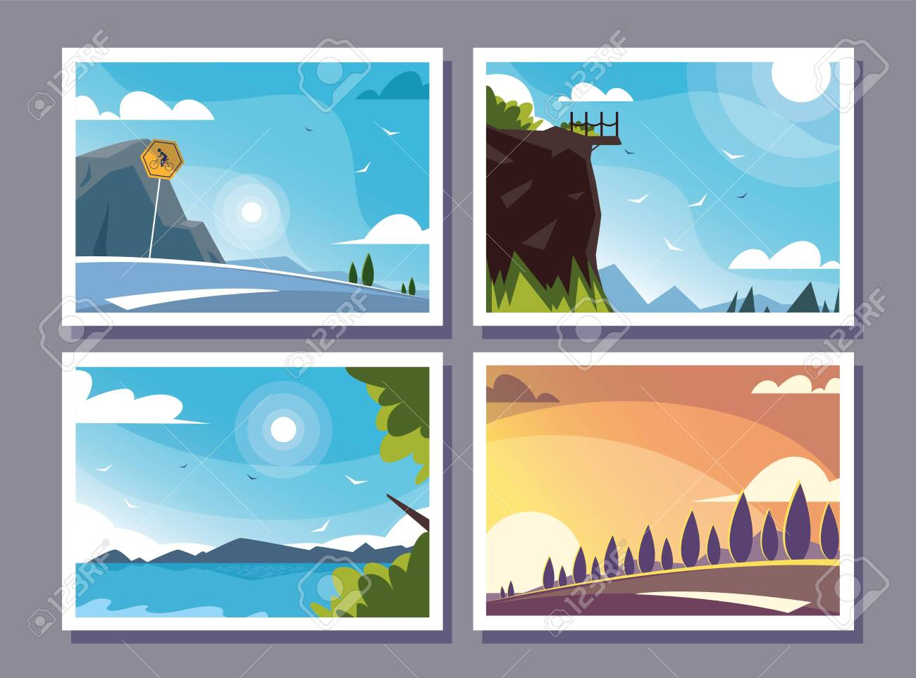 four scenes with nature landscape and beautiful fields vector illustration design - 151287793