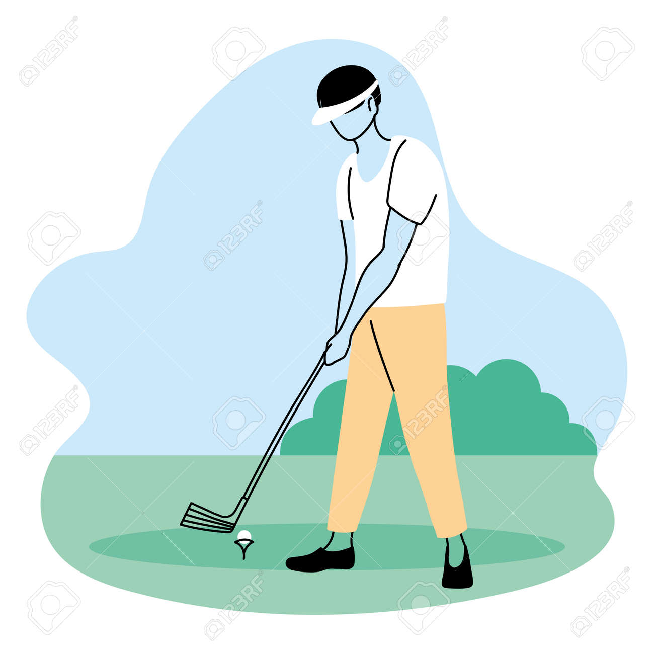 young man playing sports games in park vector illustration desing - 154103976