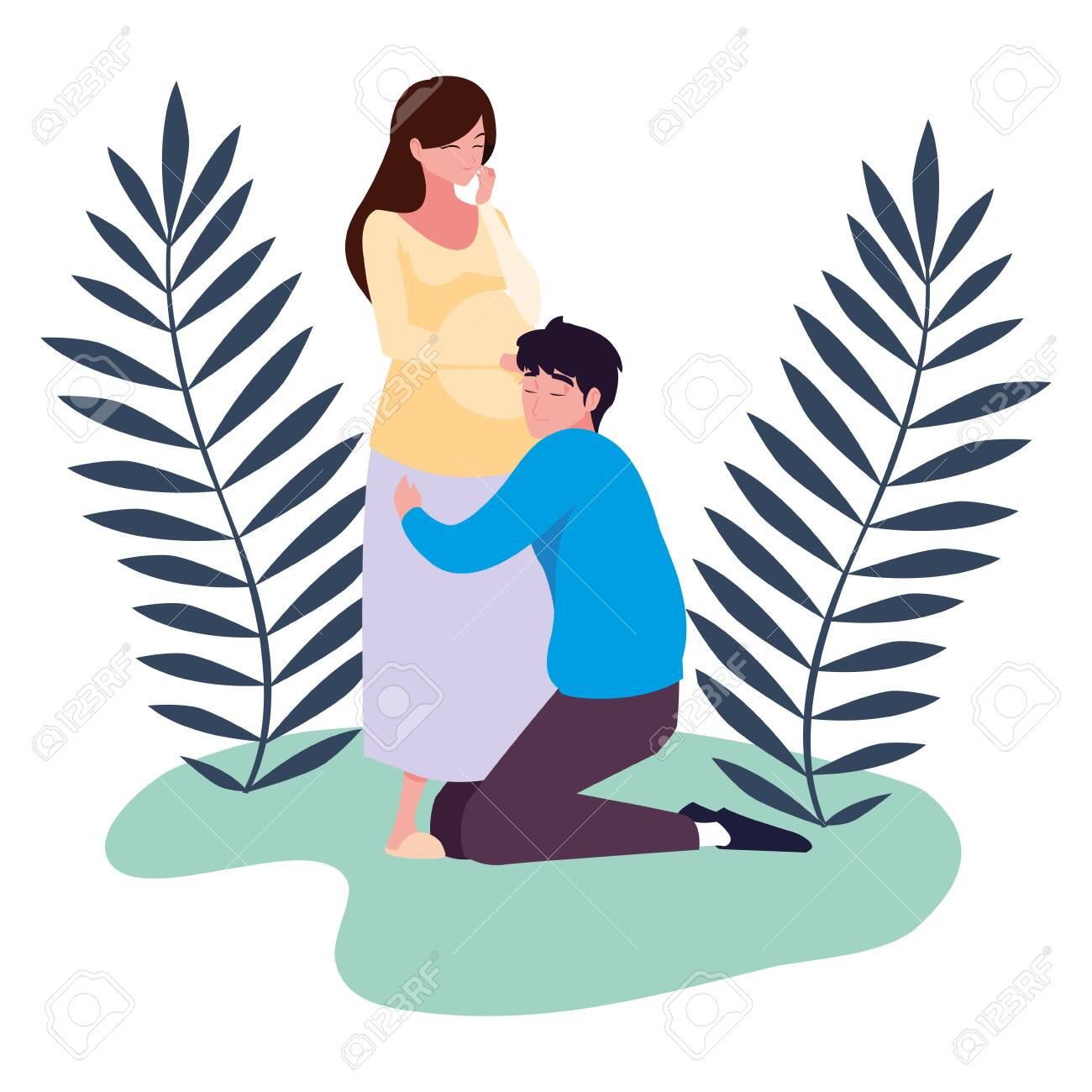 Pregnant woman and man design, Couple family love pregnancy maternity and expecting theme Vector illustration - 154612356