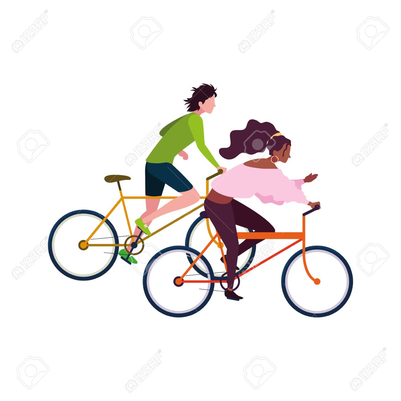 man and woman riding bicycle activity image vector illustration - 154616854
