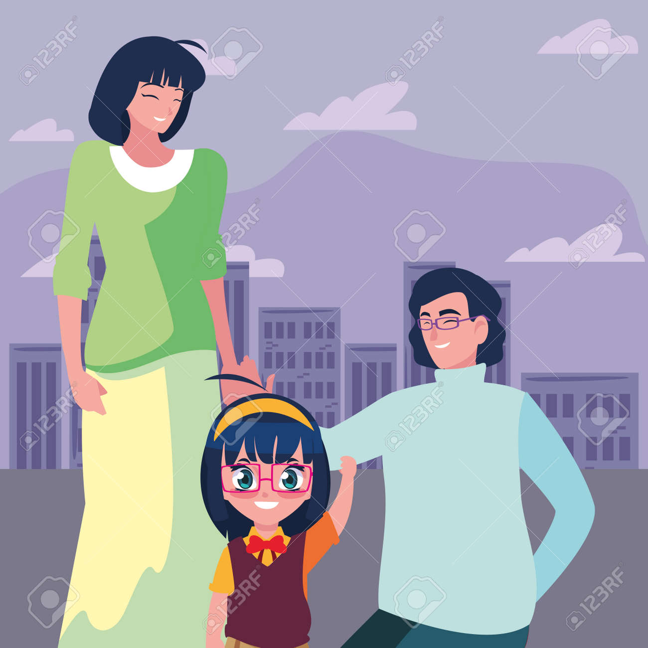 parents with her daughter student back to school vector illustration - 154616941