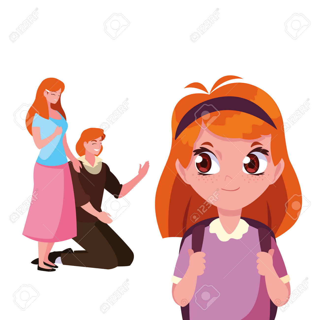 parents with school girl student vector illustration - 154617376