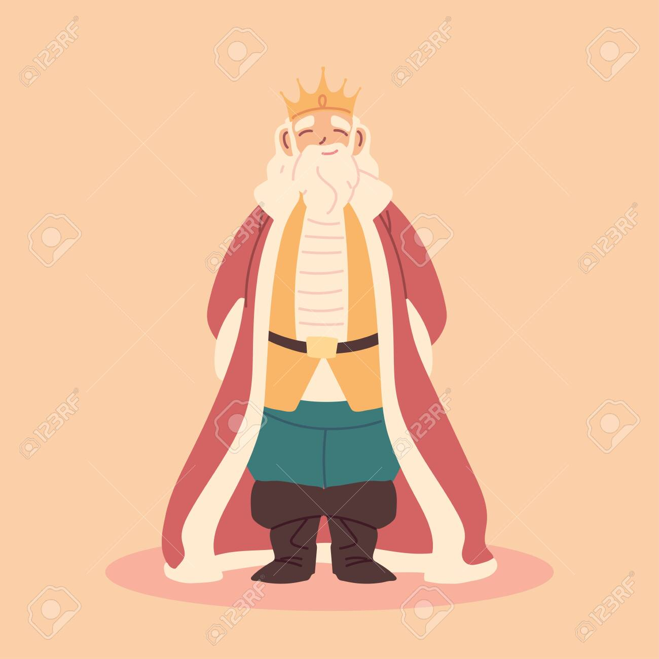 King Fat Man With Crown And Royal Robes Monarch Vector Illustration Royalty Free Cliparts Vectors And Stock Illustration Image 153963673