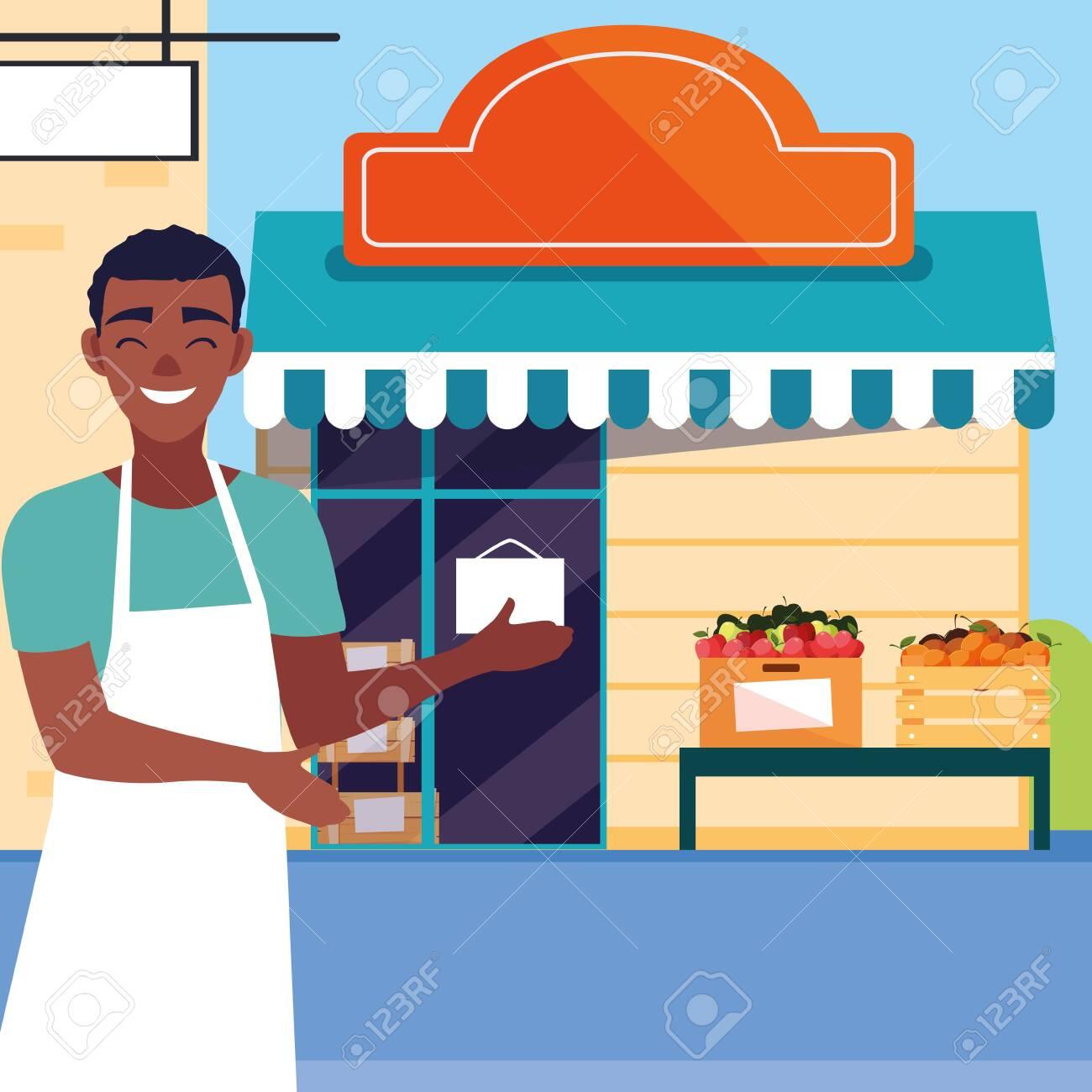 salesman with fruits store facade building vector illustration design - 153947299