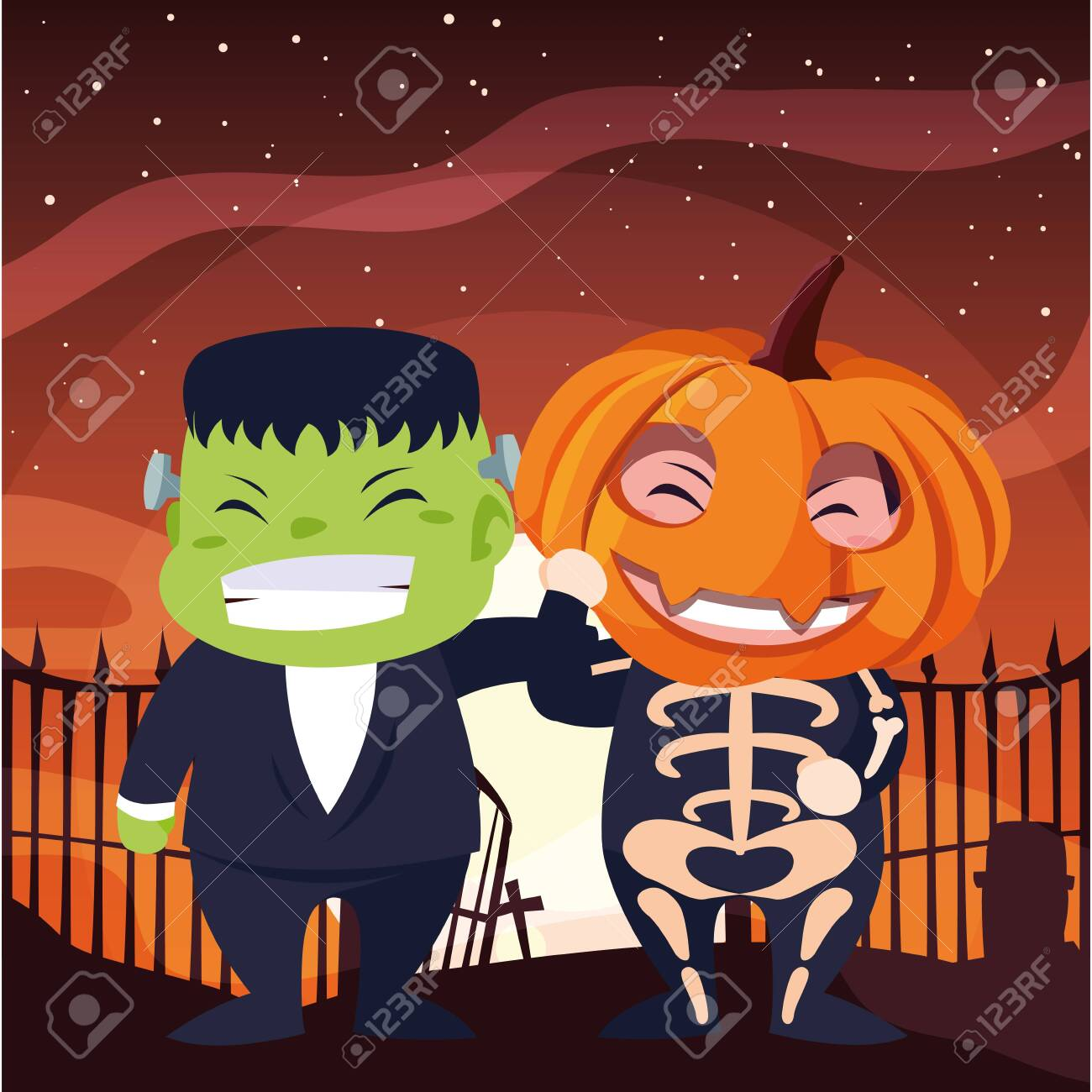 costumed children design, Halloween holiday horror scary celebration autumn dark and party theme Vector illustration - 153944170