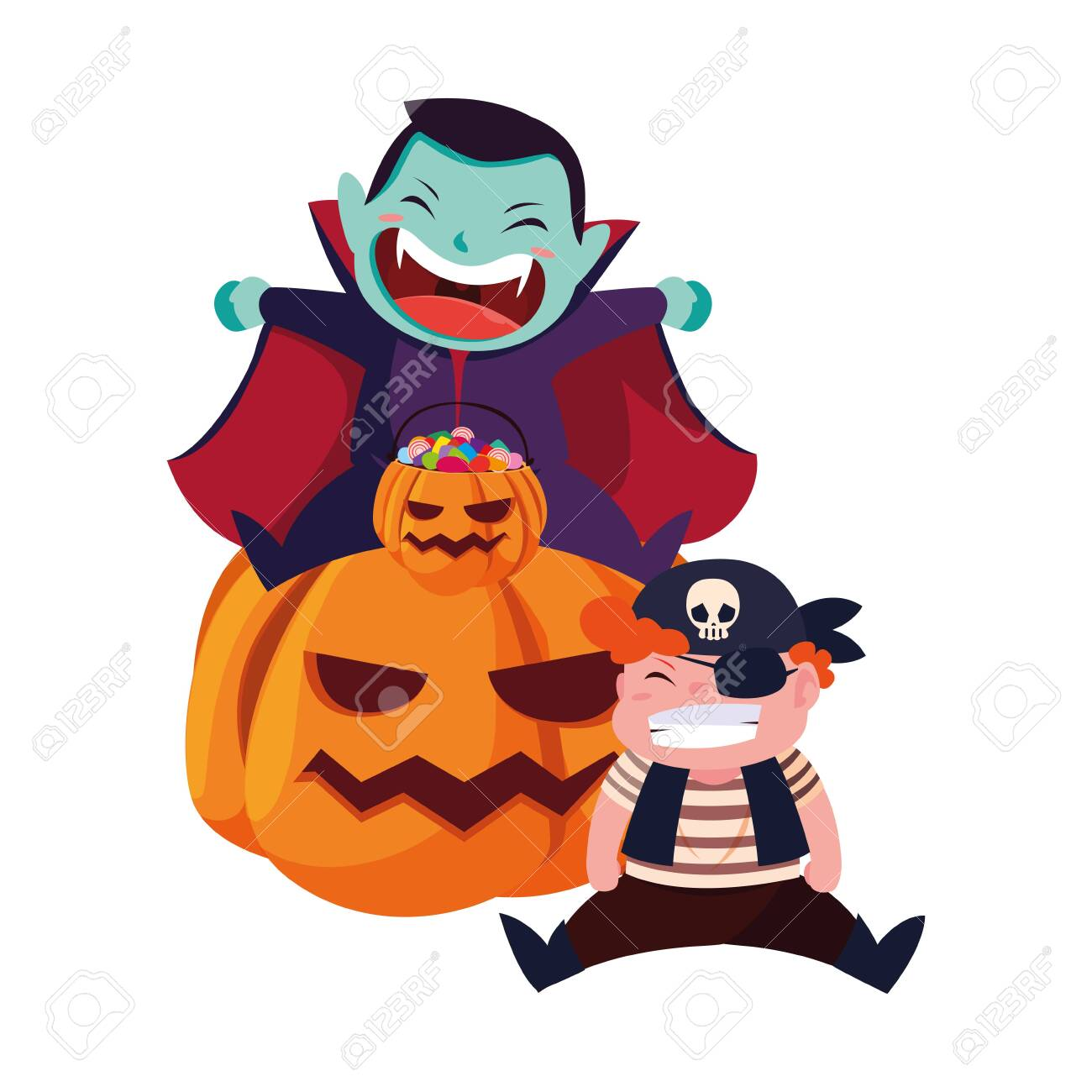 boys in Halloween pirate costume with pumpkins vector illustration - 154320903