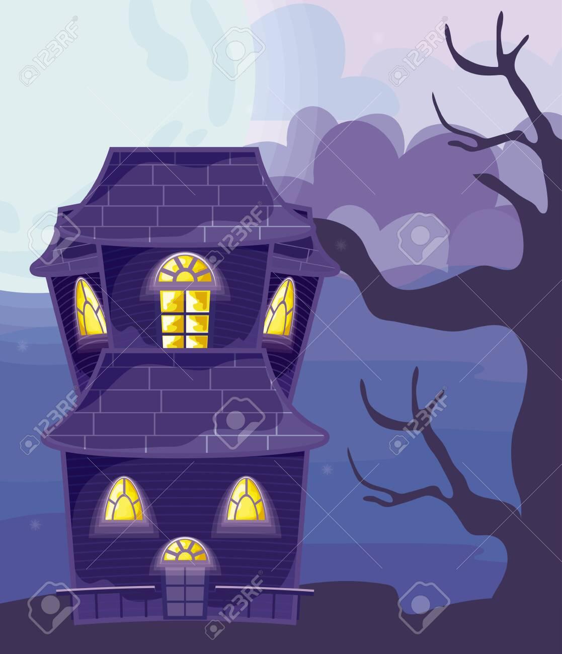 halloween horror house on halloween scene vector illustration design - 153827391