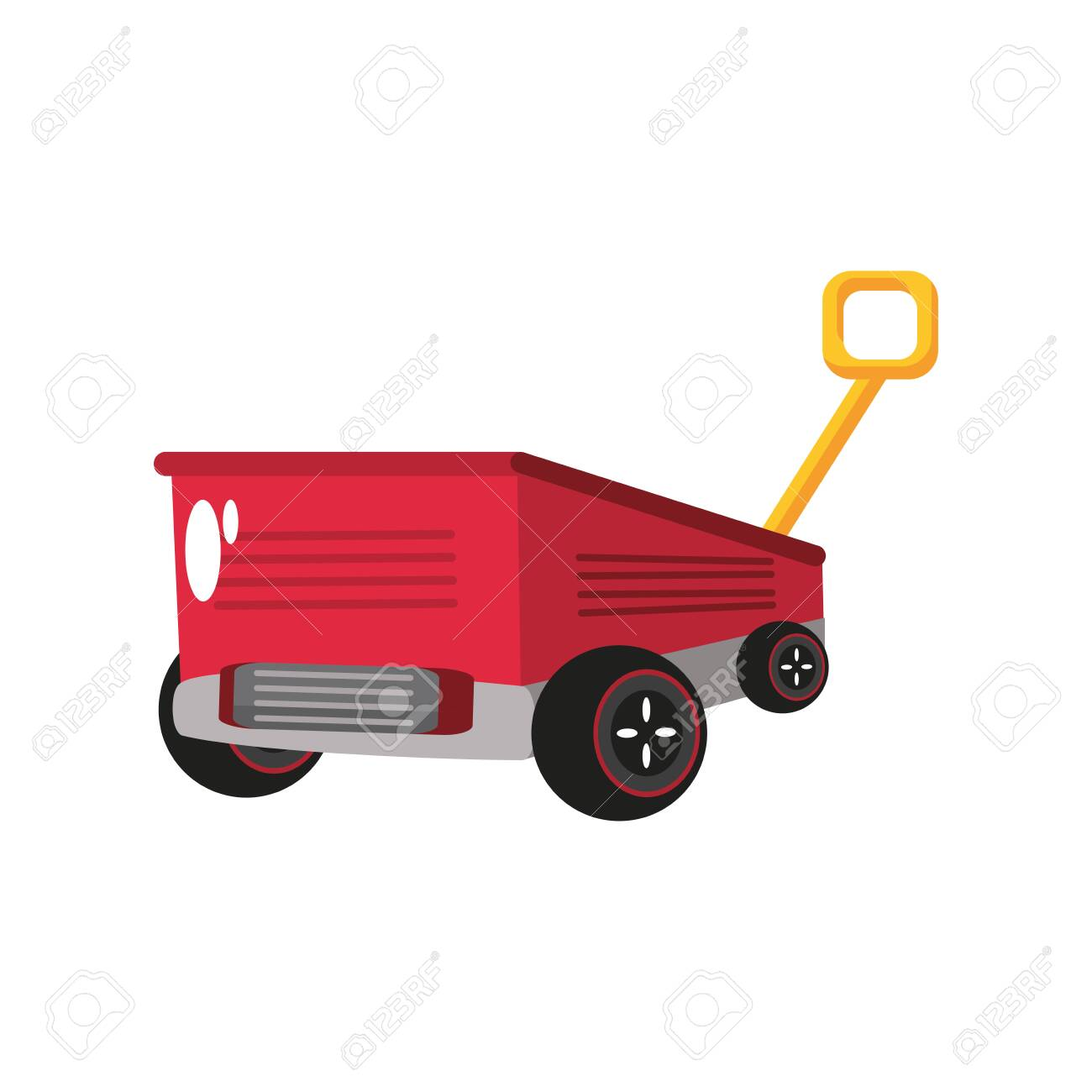 Little Red Wagon Kids Toy On White Background Vector Illustration Royalty Free Cliparts Vectors And Stock Illustration Image 153827811