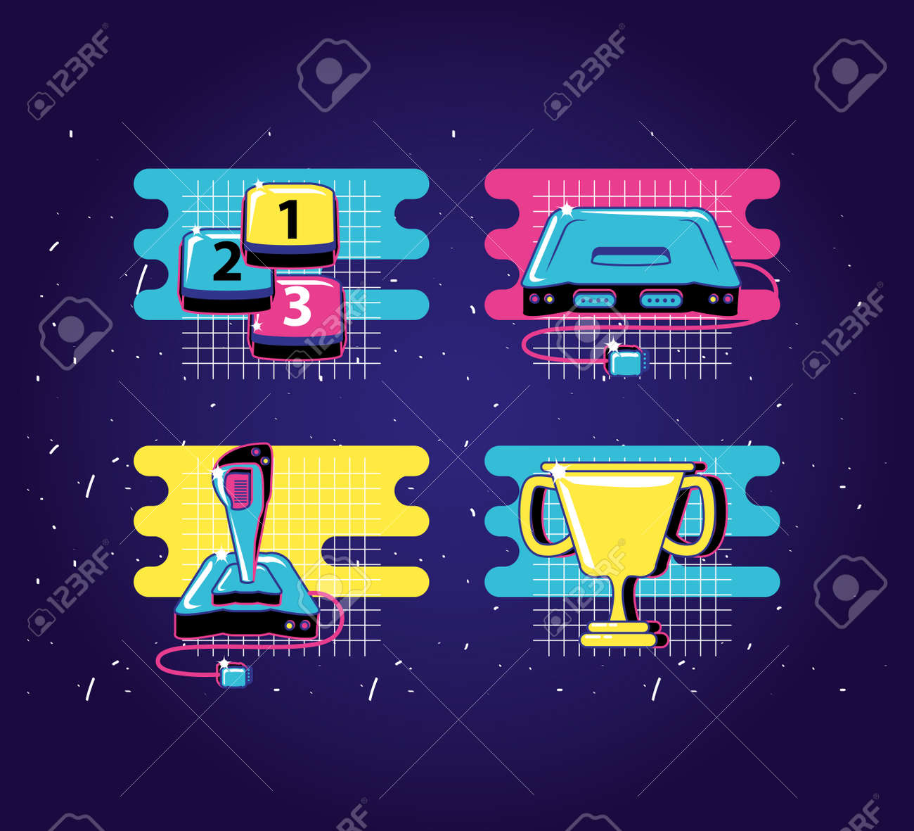 set icons of devices video game retro style vector illustration design - 153944915